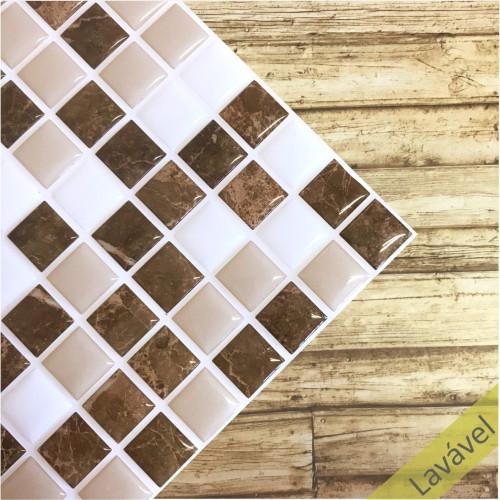 Placa de Pastilha Adesiva Resinada Granito Marrom, Branco e Bege - 28,5cm x 31cm