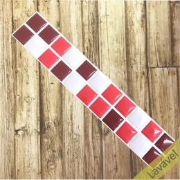 Pastilha Resinada Vermelha, Bordô e Gelo - Faixa Dupla 5,5cm x 30cm