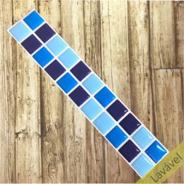 Pastilha Resinada Tons de Azul - Faixa Dupla 5,5cm x 30cm