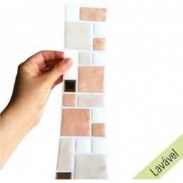 Pastilha Resinada Mosaico Pedra Rose, Branco e Dourado- Faixa 7,0cm x 29cm