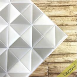 Placa de Pastilha Adesiva Resinada Triângulo Branco, e Cinza - 28,5cm x 28,5cm